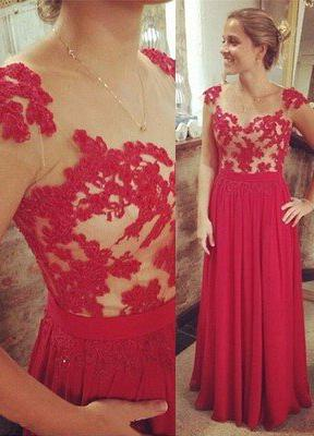 2020 Gorgeous Red A-Line/Princess Capped Sleeves Natural Zipper Floor-Length/Long Chiffon Prom Dresses