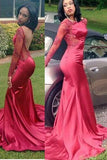 2020 Gorgeous Red Appliques Sweep/Brush Train Mermaid/Trumpet Satin Prom Dresses