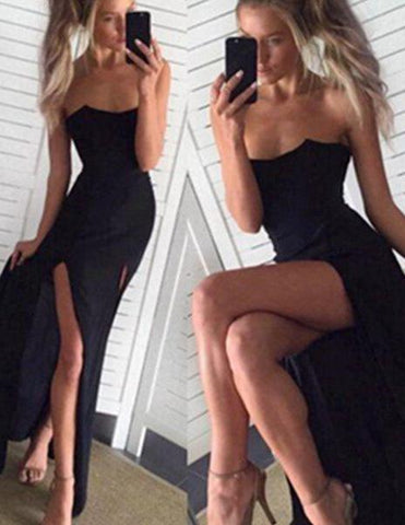 2020 Junoesque Black Mermaid/Trumpet Strapless Sleeveless Natural Backless Floor-Length/Long Satin Chiffon Prom Dresses