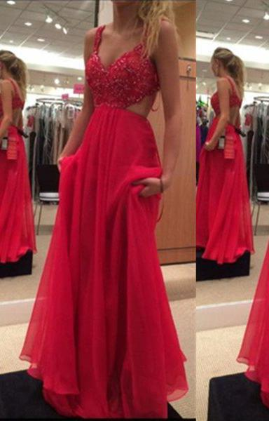 2020 Gorgeous Red A-Line/Princess Spaghetti Straps Sleeveless Sweep/Brush Train Chiffon Prom Dresses