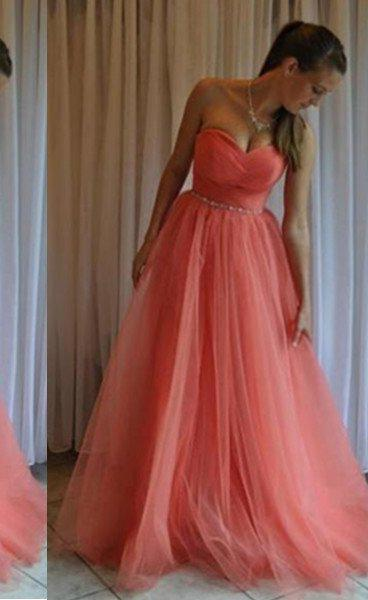A-Line/Princess Sweetheart Sleeveless Floor-Length/Long Tulle Water Melon Prom Dresses