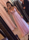 Floor-Length/Long Column/Sheath Straps Chiffon 2020 Glamorous Pink Prom Dresses