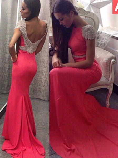 2020 Gorgeous Red Capped Sleeves Crystal Backless Mermaid/Trumpet Satin Prom Dresses