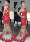 2020 Gorgeous Red Prom Dresses Floor-Length/Long Mermaid/Trumpet Sleeveless Lace