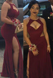 Burgundy Fashion Cut Out High Split Prom Dresses