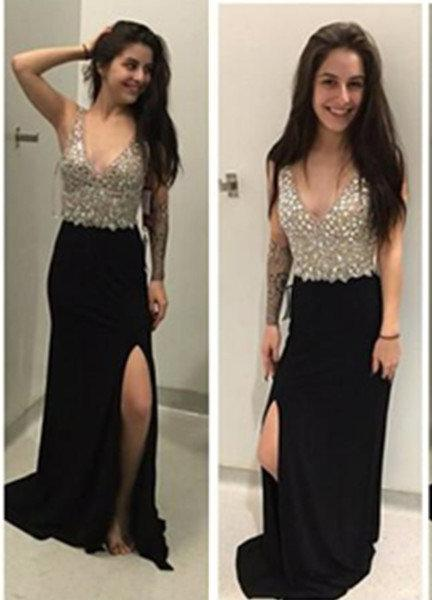 A-Line/Princess V-Neck Sleeveless Natural Sweep/Brush Train 2020 Junoesque Black Prom Dresses