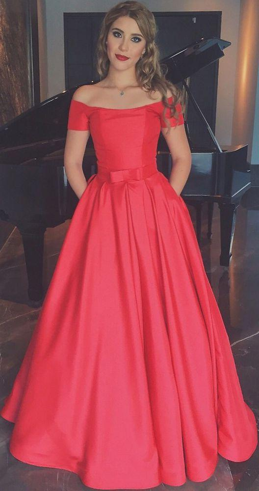 2020 Elegant Satin Princess/A-Line Off The Shoulder Red Prom Dresses