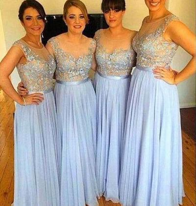 A Line Chiffon Long Blue Bridesmaid Dresses With Appliques