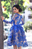 A-Line Round Knee-Length Long Sleeves Royal Blue Homecoming Dress 2020