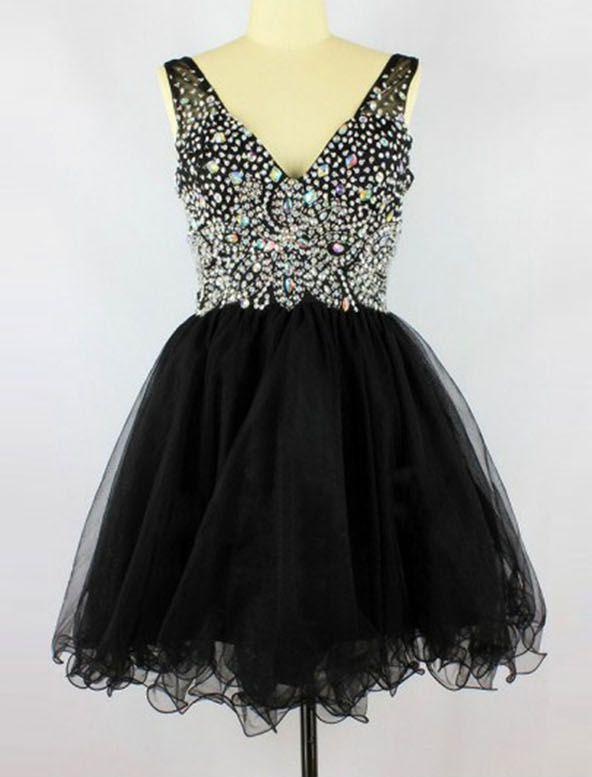 A-Line Deep V-Neck Sleeveless Short Black Beading Homecoming Dress