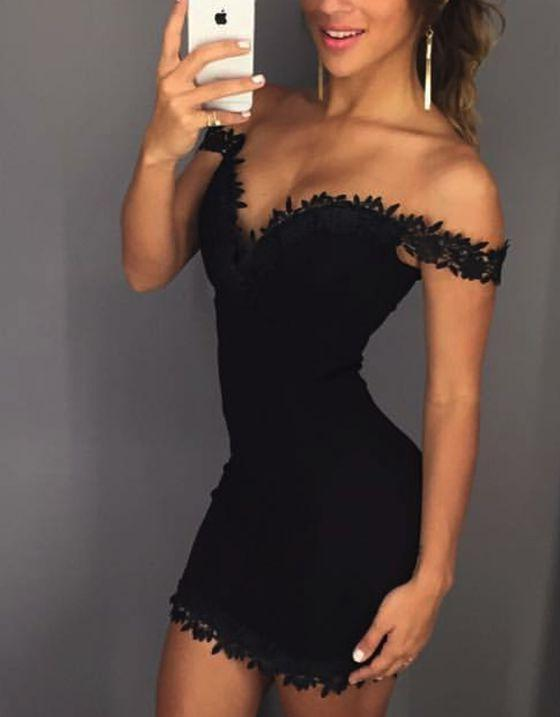 Sheath Off-the-Shoulder Black Stretch Satin Homecoming Dress 2021 with Appliques