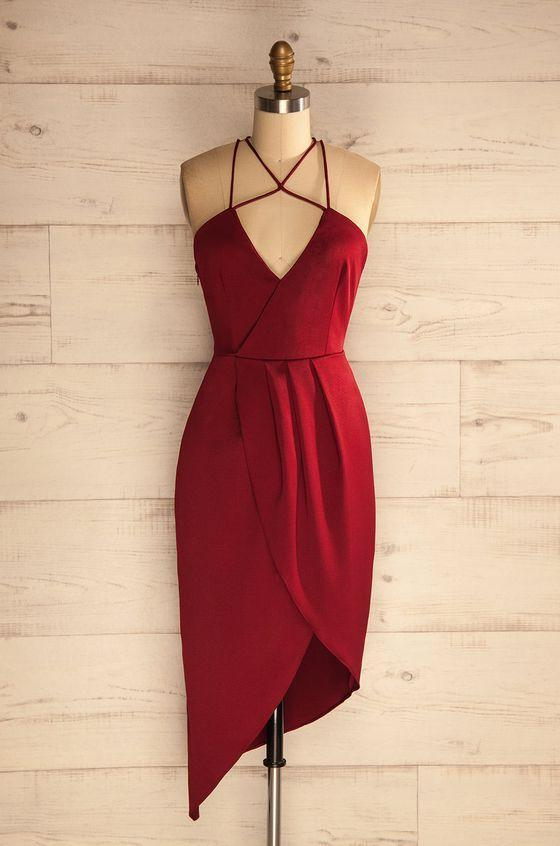 Sheath Halter Asymmetrical Dark Red Satin Homecoming Dress