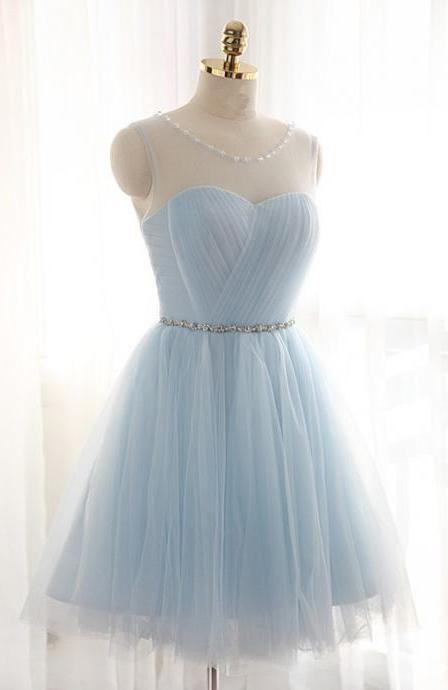 A-Line Jewel Light Blue Tulle Short Homecoming Dress 2020 with Beading Pleats