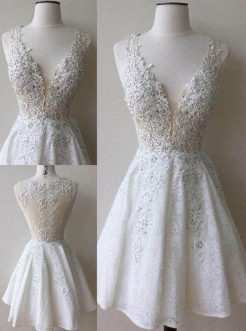 A-Line Deep V-Neck White Lace Short Homecoming Dress with Appliques Beading