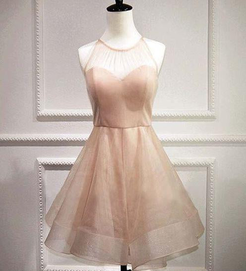 A-Line Jewel Pearl Pink Organza Bowknot Short Homecoming Dress 2021 with Open Back