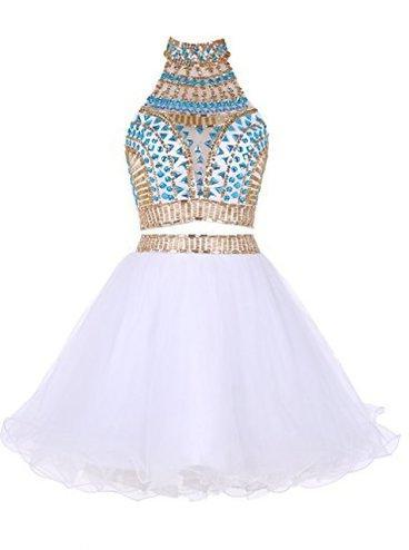 Two Piece High Neck White Tulle Short Homecoming Dress 2020 with Beading Rhinestone