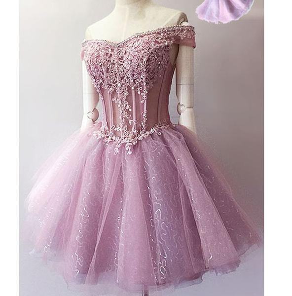 Princess/A-Line Off-the-Shoulder Appliques Short Lavender Homecoming/Prom Dresses
