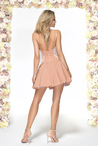 A-Line Spaghetti Straps Short Blush Homecoming Dress 2021 with Appliques