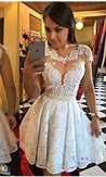 A-Line Scalloped-Edge Cap Sleeves Short White Lace Homecoming Dress 2021 with Lace