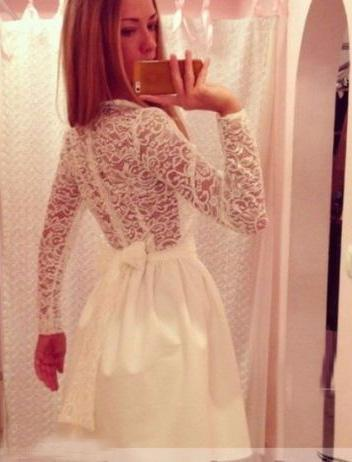 Princess/A-Line High Neck Long Sleeves White Homecoming/Prom Dresses with Sashes