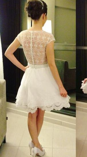 Princess/A-Line Jewel Cap Sleeves White Short Homecoming/Prom Dresses with Pearl