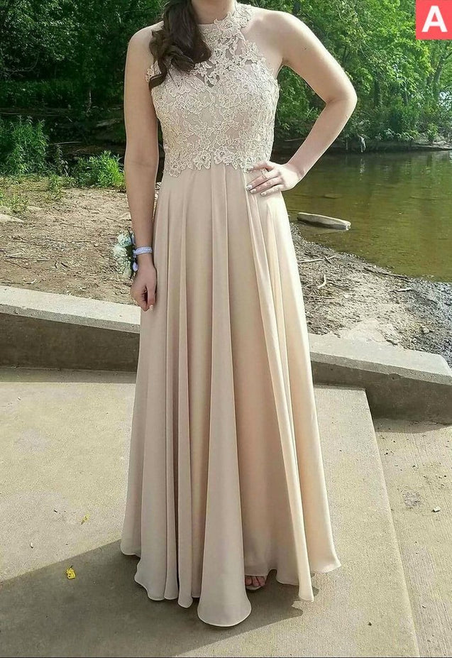 Beading Champagne Halter A-Line/Princess Chiffon Prom Dresses
