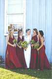 2020 Cheap A Line Chiffon Burgundy Long Bridesmaid Dresses / Gowns