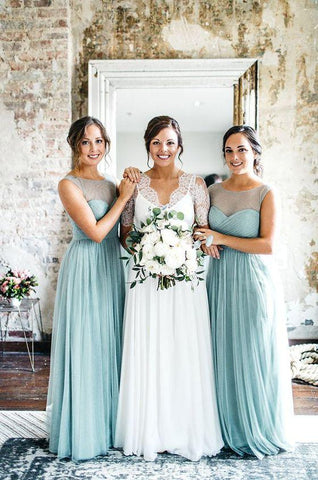 A Line Tulle Blue Sweetheart 2020 Bridesmaid Dresses