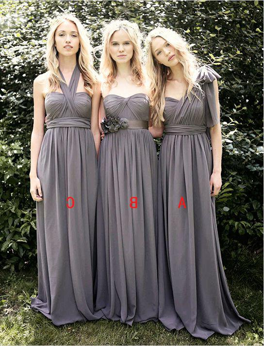 2020 Cheap A Line Light Slate Grey Chiffon One Shoulder Long Bridesmaid Dresses / Gowns