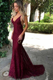 2020 Sexy Burgundy Lace V Backless Prom Dresses