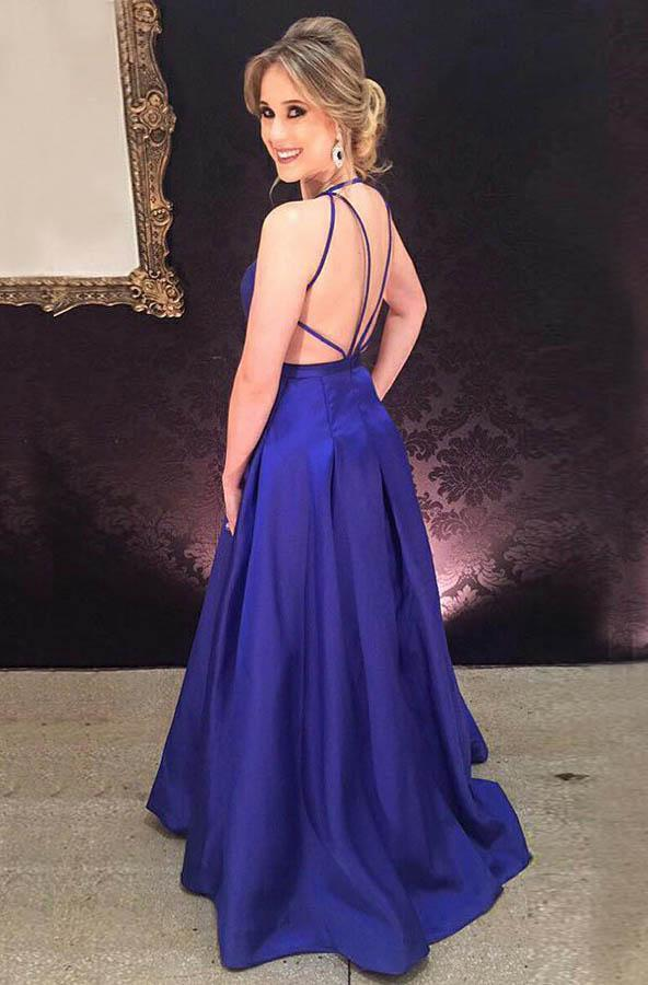 2020 Cheap Satin Royal Blue Princess/A-Line Prom Dresses