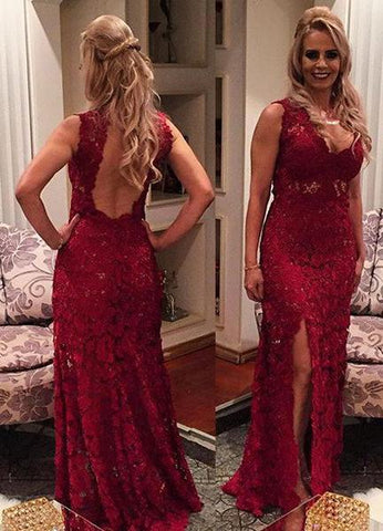 Burgundy V Neck Open Back Side Slit Lace Prom Dresses