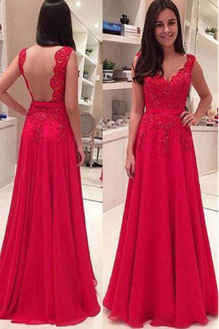 2020 Gorgeous Red Floor-Length/Long A-Line/Princess Straps Lace Backless Chiffon Prom Dresses
