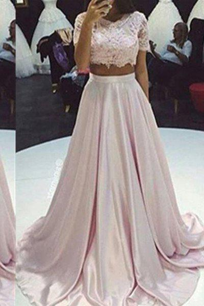 Floor-Length/Long A-Line/Princess Lace Two Pieces Taffeta 2020 Glamorous Pink Prom Dresses