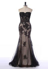 2020 Junoesque Black Cheap Prom Dresses Mermaid/Trumpet Appliques Sweetheart Tulle
