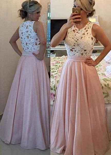 Floor-Length/Long A-Line/Princess Floor-Length/Long Chiffon 2020 Glamorous Pink Prom Dresses