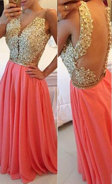 Floor-Length/Long Cowl A-Line/Princess Beading Chiffon Water Melon Prom Dresses