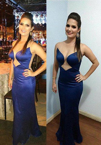 LadyPromDress 2020 Blue Sexy Sheer Back Sleeveless Column/Sheath Satin Prom Dresses
