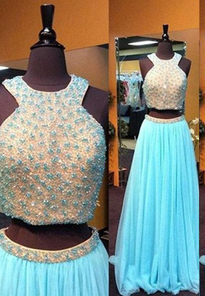 LadyPromDress 2020 Blue Floor-Length/Long A-Line/Princess Beading Two Pieces Tulle Prom Dresses