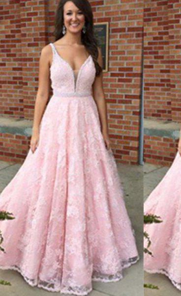V-Neck Floor-Length/Long Lace Natural Waist Sleeveless A-Line/Princess 2020 Glamorous Pink Prom Dresses