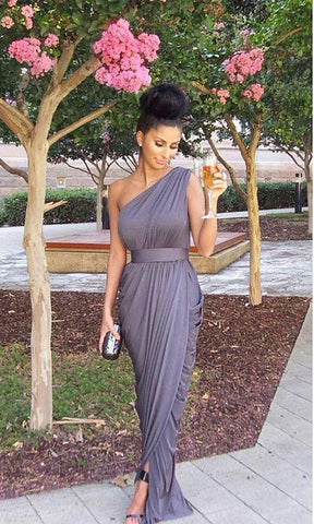 2020 New Arrival Chiffon Tight Ruffles Light Slate Grey One Shoulder Bridesmaid Dresses / Gowns