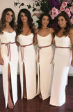 2020 White Sheath Side Slit Spaghetti Straps Belt Bridesmaid Dresses