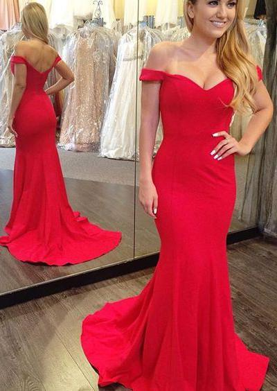 Mermaid/Trumpet Red Sweetheart Satin Off The Shoulder Prom Dresses