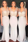 Charming Silver Sheath Sweetheart Satin Bridesmaid Dresses / Gowns