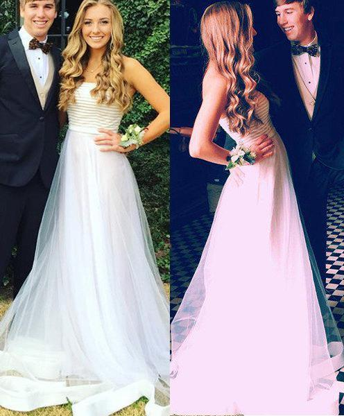 Prom Dresses Strapless A-Line/Princess Tulle