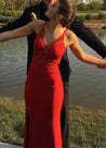 2020 Gorgeous Red Illusion Side Slit Satin Prom Dresses