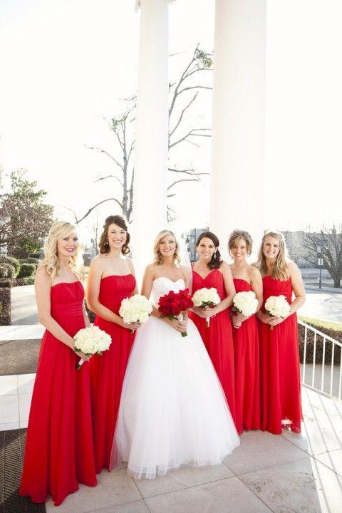 2020 Cheap A Line Chiffon Red Long Strapless Bridesmaid Dresses / Gowns