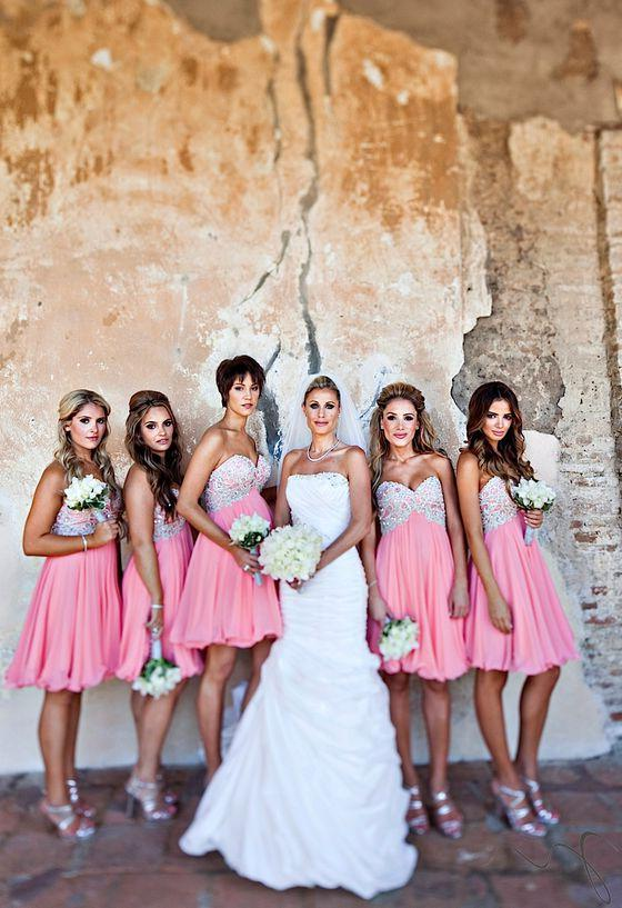 2020 Cheap A Line Pink Sweetheart Chiffon Short Bridesmaid Dresses / Gowns