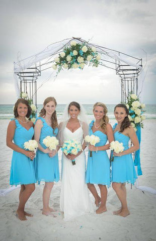 2020 Cheap A Line Chiffon Knee Length Turquoise Bridesmaid Dresses / Gowns