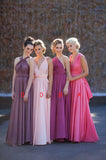 2020 New Arrival A Line Chiffon Pearl Pink V Long Bridesmaid Dresses / Gowns
